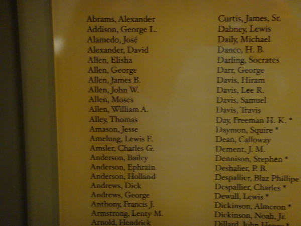 The Alamo (long building - formerly a barrack for the Alamo) shows Charles G Amsler's name.  This is believed to be names of Seige of Bexar Muster Roll of Capt Yorks co. volunteers, while in the army befpre bexar 1835.
